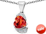 Original Star K™ Heart Shape 8mm Simulated Orange Mexican Fire Opal Love Pendant style: 308802