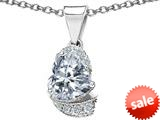 Original Star K™ Heart Shape 8mm Genuine White Topaz Love Pendant style: 308804