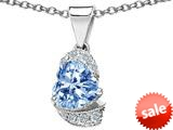 Original Star K™ Heart Shape 8mm Simulated Aquamarine Love Pendant style: 308808