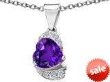 Original Star K™ Heart Shape 8mm Simulated Amethyst Love Pendant style: 308809