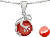 Original Star K™ Frog Pendant with 10mm Simulated Red Coral Ball style: 308811