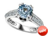 Original Star K™ Round Simulated Aquamarine Engagement Ring style: 308821