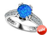 Original Star K™ Round Simulated Blue Opal Engagement Ring style: 308823