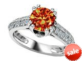 Original Star K™ Round Simulated Orange Mexican Fire Opal Engagement Ring style: 308826