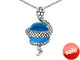 Original Star K™ Large Snake Pendant with 10mm Simulated Blue Topaz Ball style: 308827
