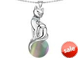 Original Star K™ Large Cat Pendant with 10mm Simulated Rainbow Mystic Topaz Ball style: 308830