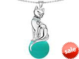 Original Star K™ Large Cat Pendant with 10mm Simulated Turquoise Ball style: 308833