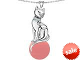 Original Star K™ Large Cat Pendant with 10mm Simulated Pink Coral Ball style: 308834