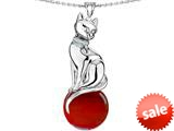 Original Star K™ Large Cat Pendant with 10mm Simulated Ruby Ball style: 308836