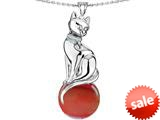 Original Star K™ Large Cat Pendant with 10mm Simulated Orange Mexican Fire Opal Ball style: 308837