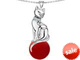 Original Star K™ Large Cat Pendant with 10mm Simulated Red Coral Ball style: 308839