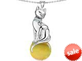 Original Star K™ Large Cat Pendant with 10mm Simulated Citrine Ball style: 308840