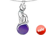 Original Star K™ Large Cat Pendant with 10mm Simulated Amethyst Ball style: 308841