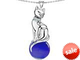 Original Star K™ Large Cat Pendant with 10mm Simulated Sapphire Ball style: 308842