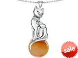Original Star K™ Large Cat Pendant with 10mm Simulated Imperial Yellow Topaz Ball style: 308843