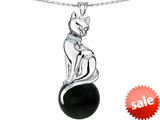 Original Star K™ Large Cat Pendant with 10mm Simulated Black Sapphire Ball style: 308844
