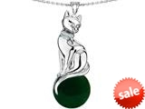 Original Star K™ Large Cat Pendant with 10mm Simulated Emerald Ball style: 308845