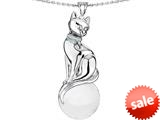 Original Star K™ Large Cat Pendant with 10mm Simulated White Agate Ball style: 308846