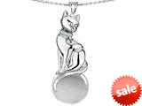 Original Star K™ Large Cat Pendant with 10mm Simulated White Topaz Ball style: 308847
