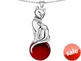 Original Star K™ Large Cat Pendant with 10mm Simulated Garnet Ball style: 308849