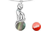 Original Star K™ Large Cat Pendant with 10mm Simulated Rainbow Mystic Topaz faceted Ball style: 308851