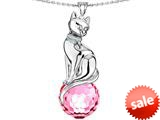 Original Star K™ Large Cat Pendant with 10mm Simulated Pink Sapphire faceted Ball style: 308852