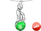 Original Star K™ Large Cat Pendant with 10mm Simulated Emerald faceted Ball style: 308853