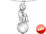 Original Star K™ Large Cat Pendant with 10mm Simulated White Topaz faceted Ball style: 308855