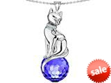 Original Star K™ Large Cat Pendant with 10mm Simulated Sapphire faceted Ball style: 308856