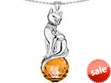 Original Star K™ Large Cat Pendant with 10mm Simulated Imperial Yellow Topaz faceted Ball style: 308857