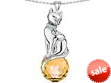 Original Star K™ Large Cat Pendant with 10mm Simulated Citrine faceted Ball style: 308858