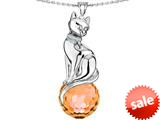 Original Star K™ Large Cat Pendant with 10mm Simulated Orange Mexican Fire Opal faceted Ball style: 308859