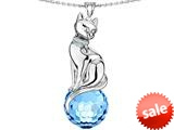 Original Star K™ Large Cat Pendant with 10mm Simulated Aquamarine faceted Ball style: 308861