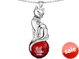 Original Star K™ Large Cat Pendant with 10mm Simulated Garnet faceted Ball style: 308862