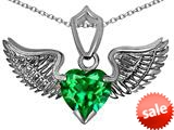 Original Star K™ Wing of Love Pendant with 8mm Heart Shape Simulated Emerald style: 308868