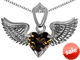 Original Star K™ Wing of Love Pendant with 8mm Heart Shape Genuine Smoky Quartz style: 308872