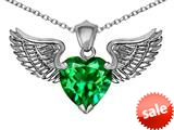 Original Star K™ Wing of Love Pendant with 8mm Heart Shape Simulated Emerald style: 308879