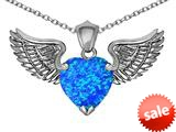 Original Star K™ Wing of Love Pendant with 8mm Heart Shape Created Blue Opal style: 308880