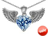 Original Star K™ Wing of Love Pendant with 8mm Heart Shape Simulated Aquamarine style: 308881
