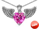 Original Star K™ Wing of Love Pendant with 8mm Heart Shape Created Pink Sapphire style: 308883