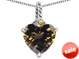 Original Star K™ Rope Heart Pendant with 10mm Heart Shape Smoky Quartz style: 308887