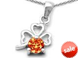 Celtic Love by Kelly™ Round Simulated Orange Mexican Fire Opal Lucky Clover Pendant style: 308893