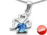 Celtic Love by Kelly™ Round Simulated Blue Topaz Lucky Clover Pendant style: 308896
