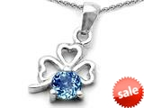 Celtic Love by Kelly™ Round Simulated Aquamarine Lucky Clover Pendant style: 308897