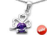 Celtic Love by Kelly™ Round Simulated Amethyst Lucky Clover Pendant style: 308898