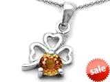 Celtic Love by Kelly™ Round Simulated Imperial Yellow Topaz Lucky Clover Pendant style: 308899