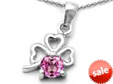 Celtic Love by Kelly™ Round Created Pink Sapphire Lucky Clover Pendant style: 308900