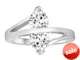 Original Star K™ Double Hearts Bypass Ring with Heart Shape Genuine White Topaz Engagement Ring style: 308902