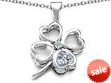 Celtic Love By Kelly™ Large 7mm Heart Shape Genuine White Topaz Lucky Clover Heart Pendant style: 308903