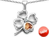 Celtic Love By Kelly™ Large 7mm Heart Shape Simulated Imperial Yellow Topaz Lucky Clover Heart Pendant style: 308904